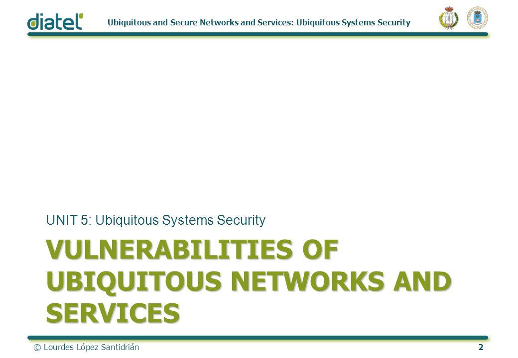 © Lourdes López Santidrián2 Ubiquitous and Secure Networks and Services: Ubiquitous Systems Security VULNERABILITIES OF UBIQUITOUS NETWORKS AND SERVIC