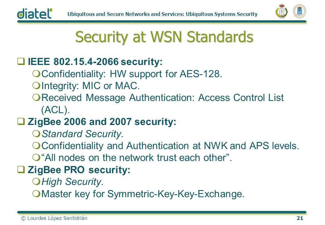© Lourdes López Santidrián21 Ubiquitous and Secure Networks and Services: Ubiquitous Systems Security Security at WSN Standards Security at WSN Standa