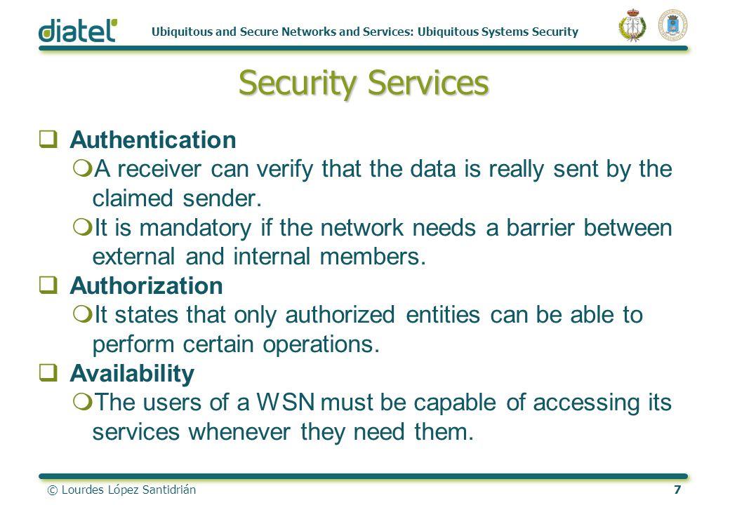© Lourdes López Santidrián7 Ubiquitous and Secure Networks and Services: Ubiquitous Systems Security Security Services Authentication mA receiver can