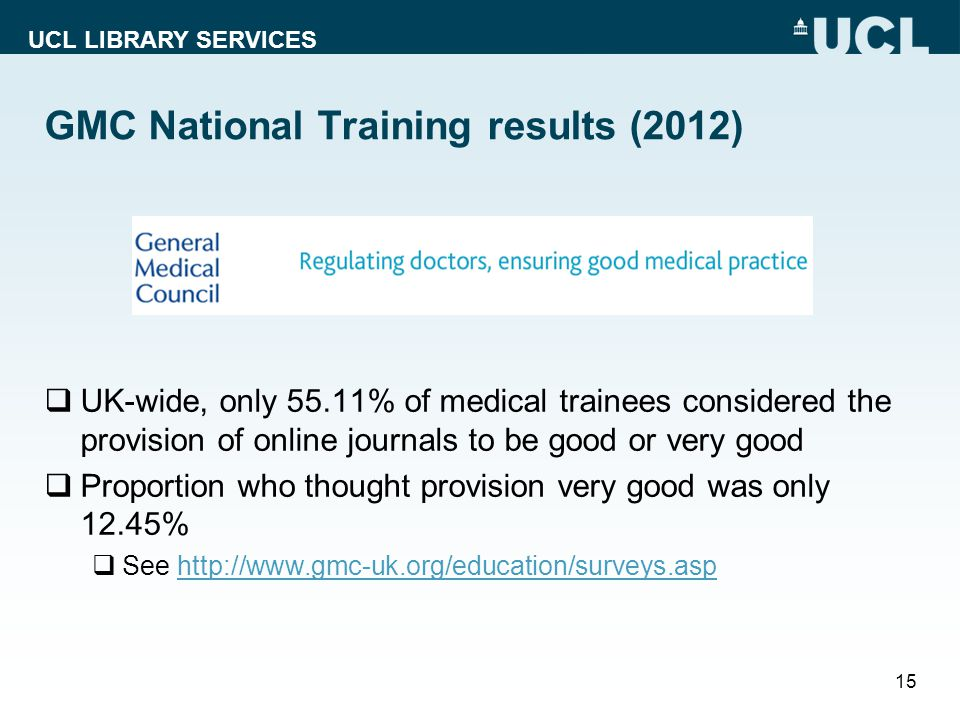 UCL LIBRARY SERVICES GMC National Training results (2012) UK-wide, only 55.11% of medical trainees considered the provision of online journals to be good or very good Proportion who thought provision very good was only 12.45% See http://www.gmc-uk.org/education/surveys.asphttp://www.gmc-uk.org/education/surveys.asp 15