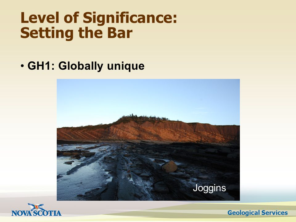 Geological Services Level of Significance: Setting the Bar GH1: Globally unique Joggins