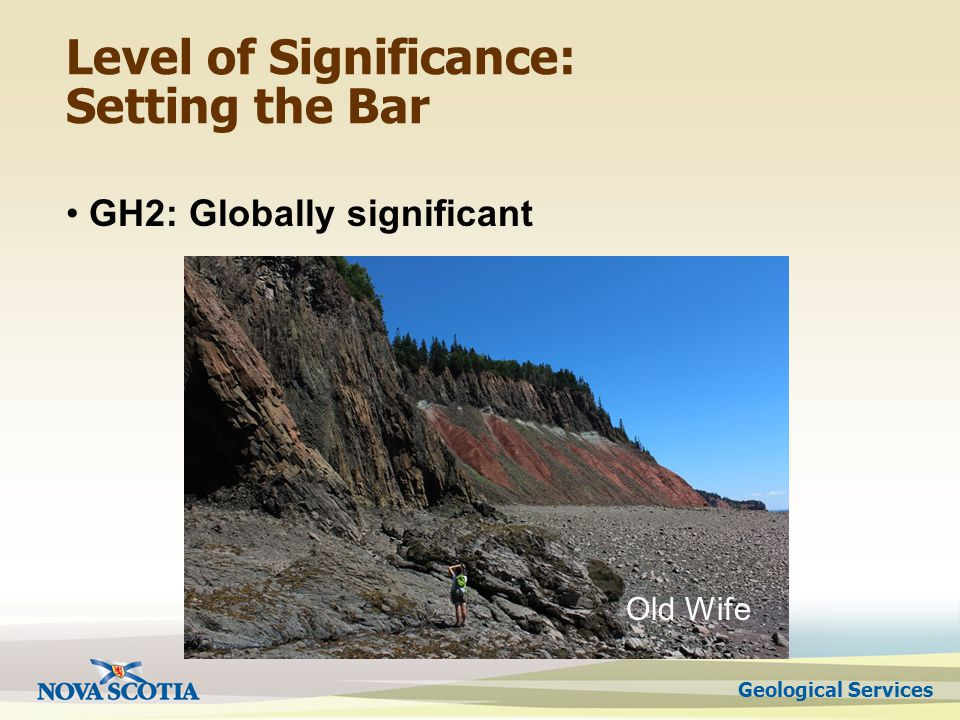 Geological Services Level of Significance: Setting the Bar GH2: Globally significant Old Wife