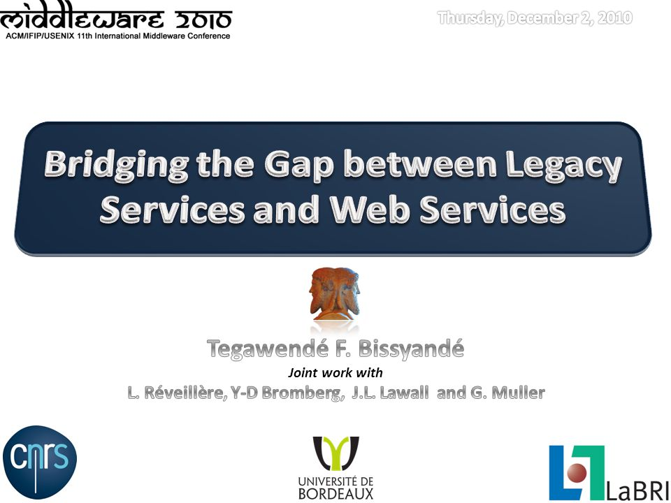 Web Services Bridging the Gap between Legacy Services and Web ServicesMiddleware 2010, Bangalore, INDIA Web service Authentication Desktop apps Accounting A service that : can describe itself Allow others to locate it can be readily invoked by others Mature technologies for : Machine-to-machine communications Service composition Well-known set of standards : SOAP/WS-*, REST, WS-BEPEL, WS-CDL Stocks Weather Databases