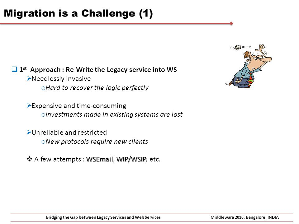 Bridging the Gap between Legacy Services and Web ServicesMiddleware 2010, Bangalore, INDIA Migration is a Challenge (2) 2 nd Approach : Implement a WS Interface to legacy services Leverages best the value locked in legacy services It still works for me I can integrate this service now