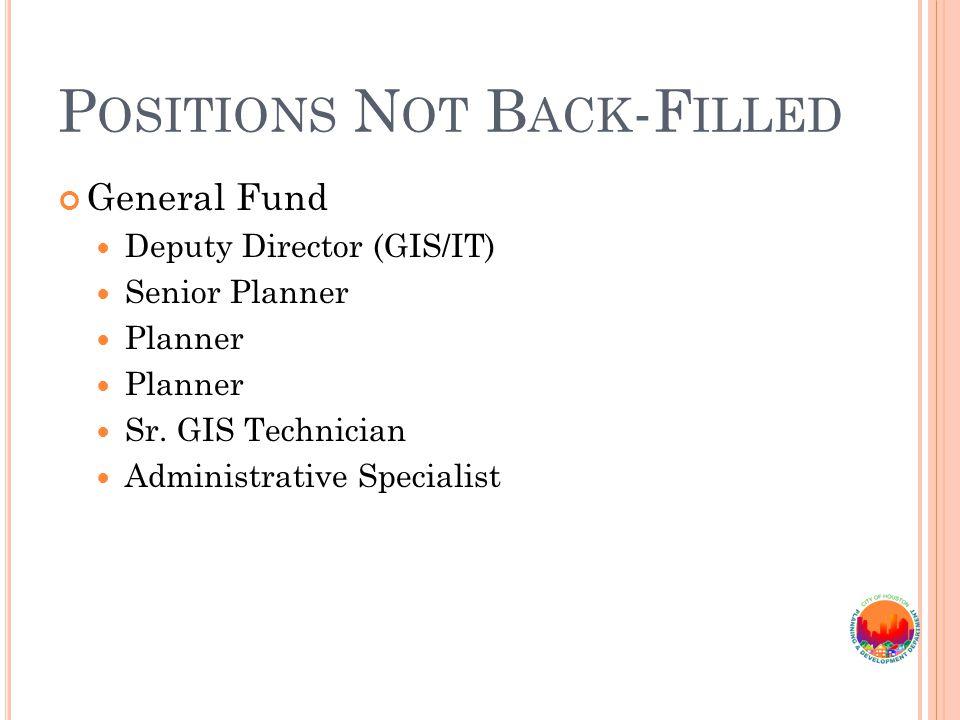 P OSITIONS N OT B ACK -F ILLED General Fund Deputy Director (GIS/IT) Senior Planner Planner Sr.