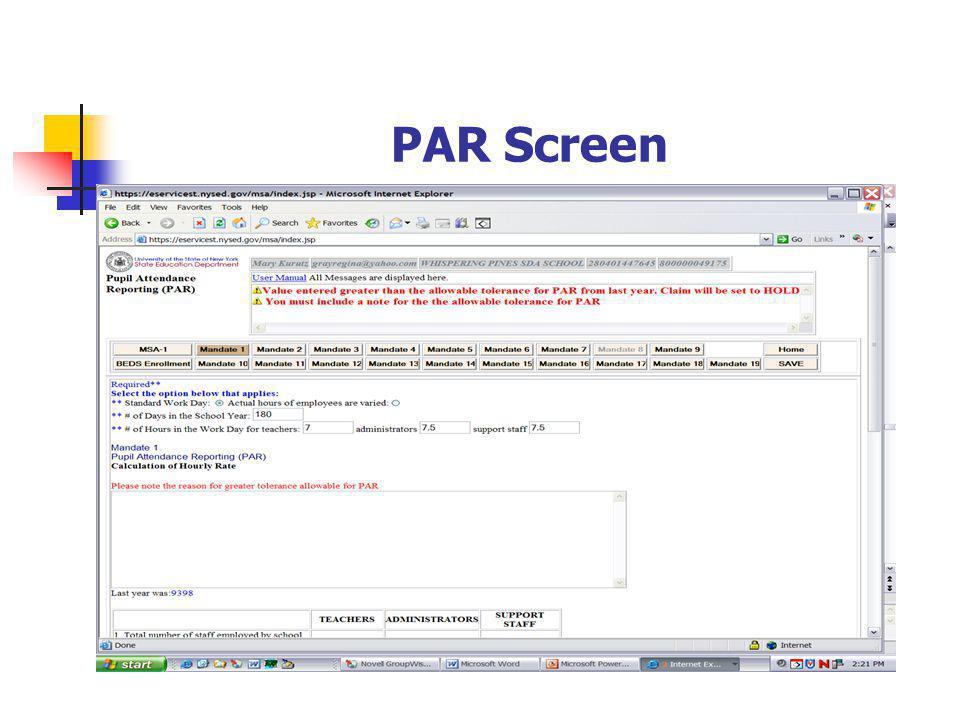 PAR Screen