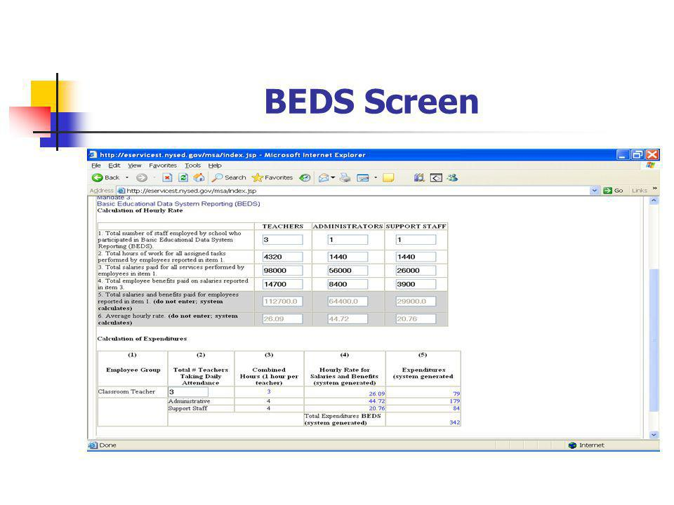 BEDS Screen