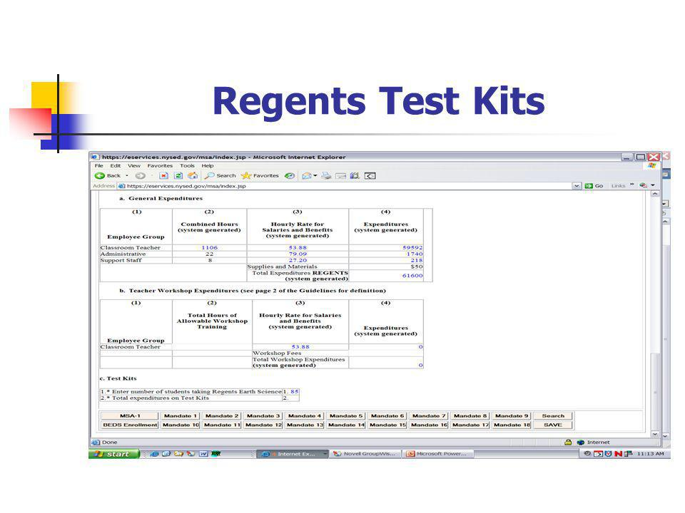 Regents Test Kits