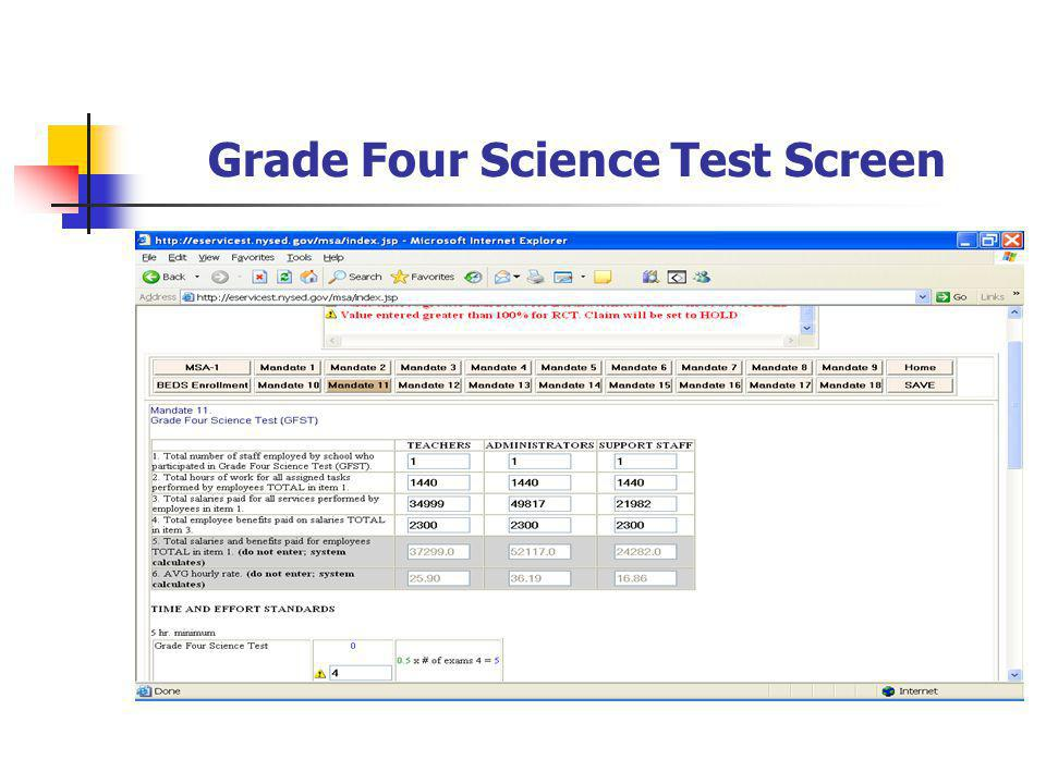 Grade Four Science Test Screen