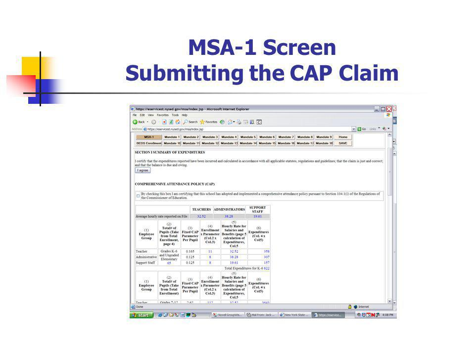 MSA-1 Screen Submitting the CAP Claim