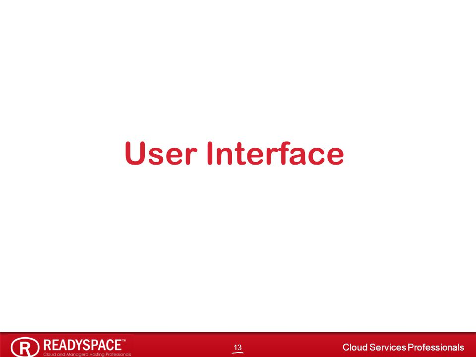 13 Cloud Services Professionals User Interface