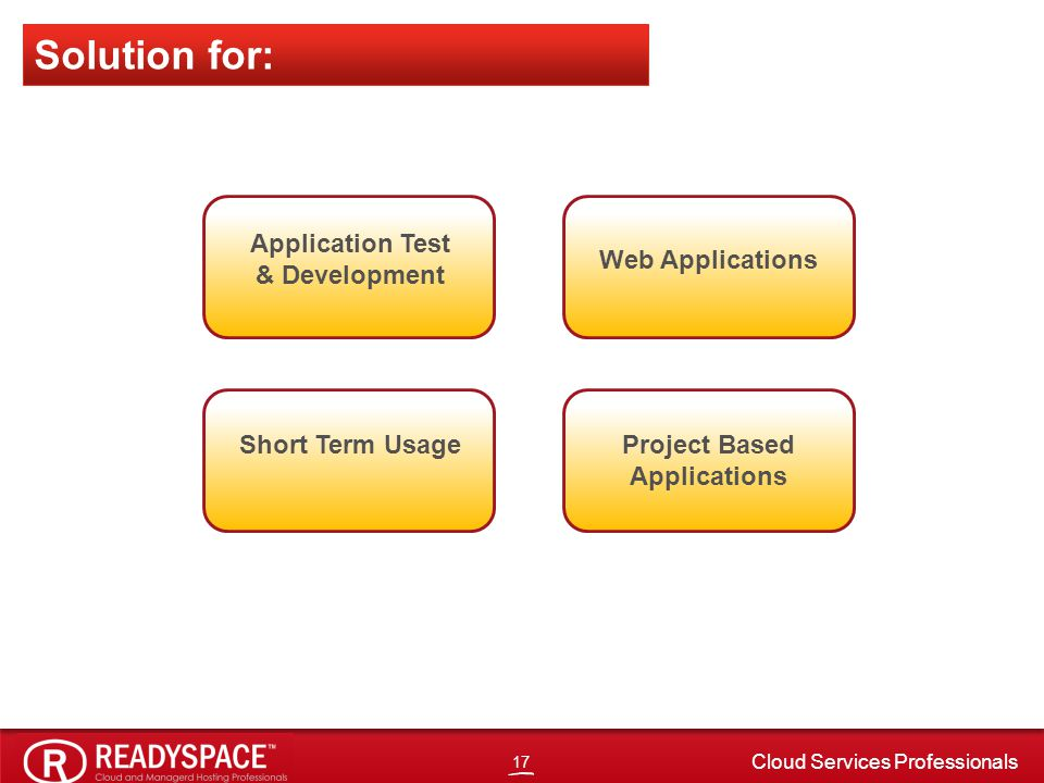 17 Cloud Services Professionals Application Test & Development Web Applications Short Term UsageProject Based Applications Solution for: