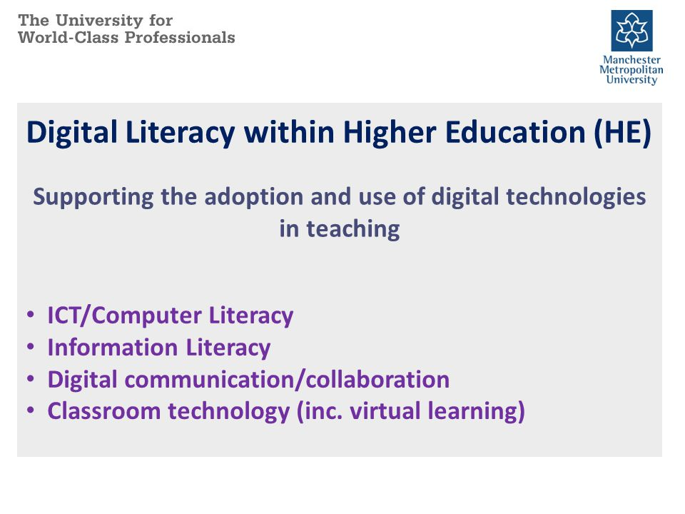 Digital Literacy within Higher Education (HE) Supporting the adoption and use of digital technologies in teaching ICT/Computer Literacy Information Li