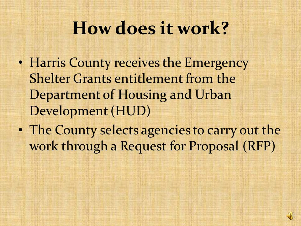 *Disclaimer* Emergency Shelter Grants is changing to Emergency Solutions Grants – Based on Homeless Emergency and Rapid Transition to Housing (HEARTH) Act More information to come…