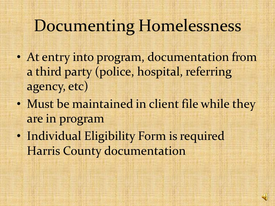 Other requirements ESG requires that subgrantees – Document homelessness or income eligibility for homeless prevention – Have a termination of participation and grievance procedure – Have a homeless or formerly homeless person participating in policy-making and operations – Ensure confidentiality for participants – Provide 100% match – Participate in HMIS