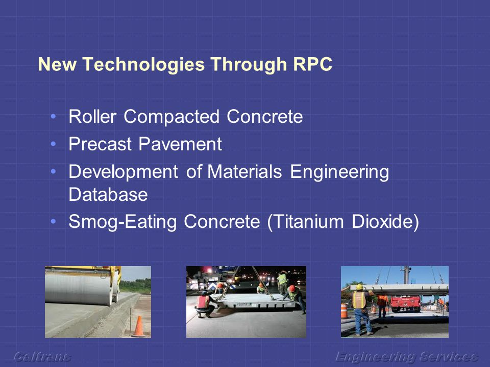New Technologies Through RPC Roller Compacted Concrete Precast Pavement Development of Materials Engineering Database Smog-Eating Concrete (Titanium Dioxide)