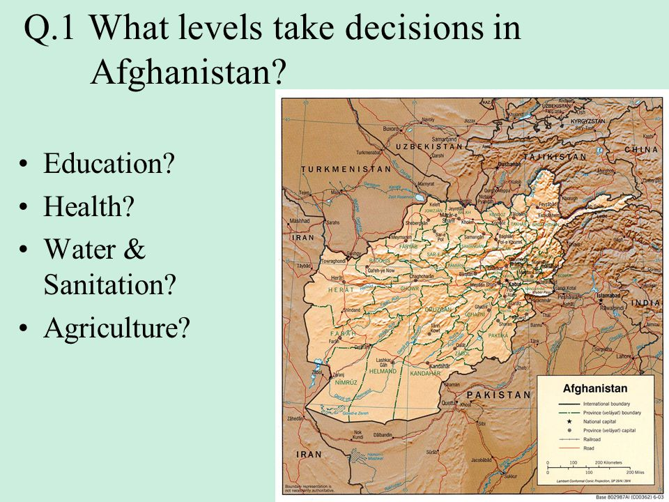 Q.1 What levels take decisions in Afghanistan? Education? Health? Water & Sanitation? Agriculture?