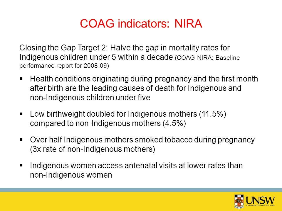 COAG indicators: NIRA Closing the Gap Target 2: Halve the gap in mortality rates for Indigenous children under 5 within a decade (COAG NIRA: Baseline