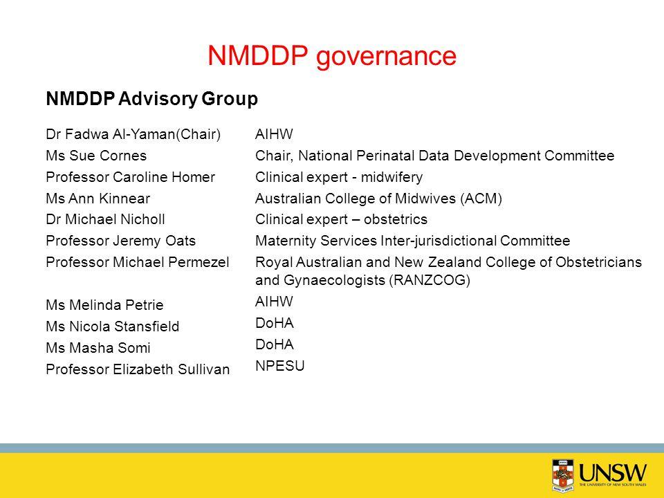 NMDDP governance Dr Fadwa Al-Yaman(Chair) Ms Sue Cornes Professor Caroline Homer Ms Ann Kinnear Dr Michael Nicholl Professor Jeremy Oats Professor Mic