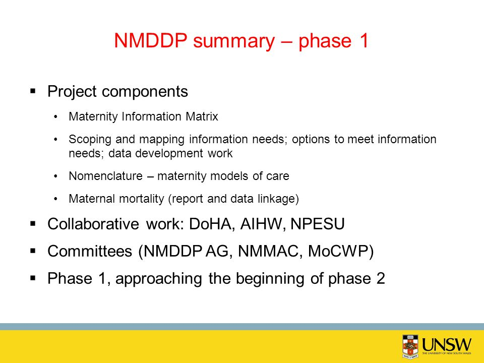 NMDDP summary – phase 1 Project components Maternity Information Matrix Scoping and mapping information needs; options to meet information needs; data