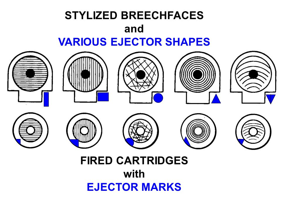 STYLIZED BREECHFACES and VARIOUS EJECTOR SHAPES FIRED CARTRIDGES with EJECTOR MARKS