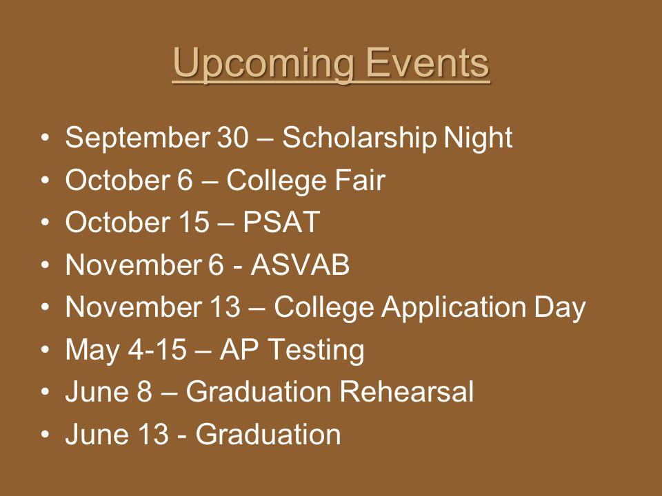 Upcoming Events September 30 – Scholarship Night October 6 – College Fair October 15 – PSAT November 6 - ASVAB November 13 – College Application Day M