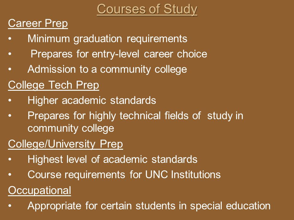 Courses of Study Career Prep Minimum graduation requirements Prepares for entry-level career choice Admission to a community college College Tech Prep