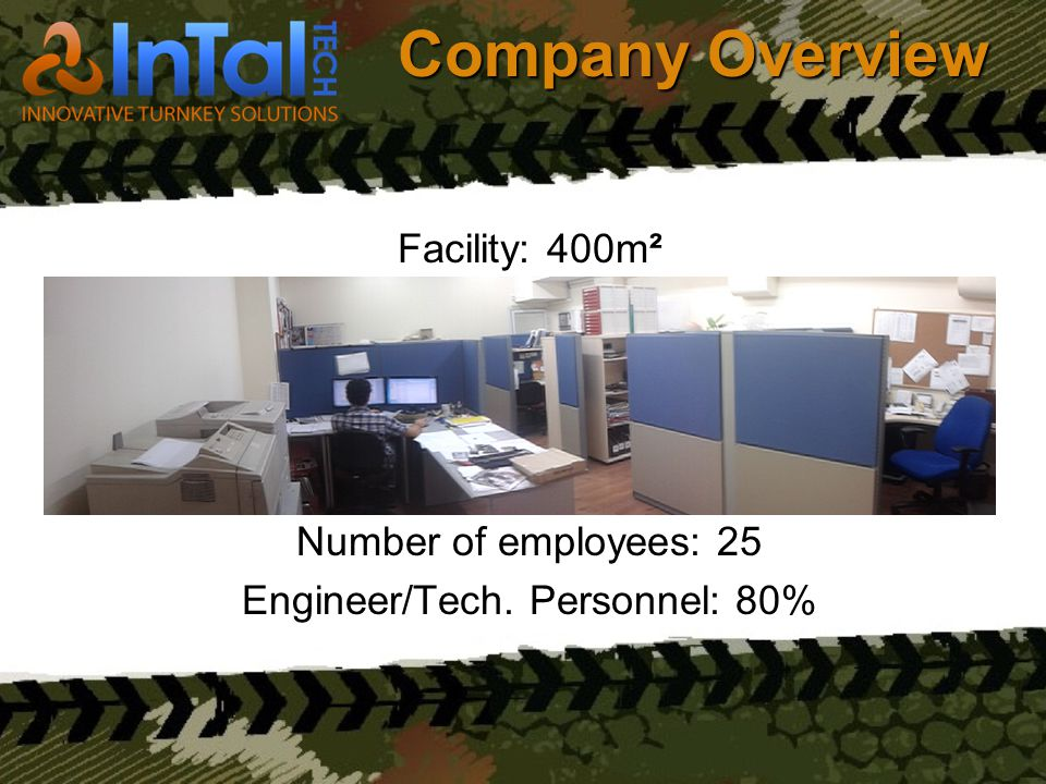 Company Overview Facility: 400m² Number of employees: 25 Engineer/Tech. Personnel: 80%