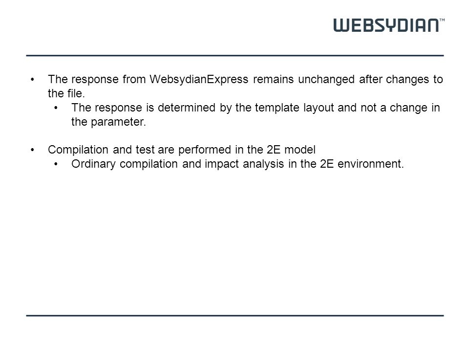 The response from WebsydianExpress remains unchanged after changes to the file. The response is determined by the template layout and not a change in