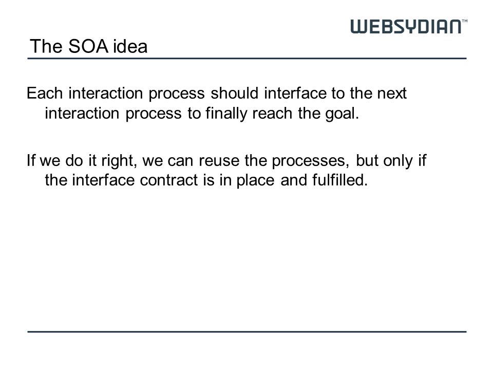 The SOA idea Each interaction process should interface to the next interaction process to finally reach the goal. If we do it right, we can reuse the
