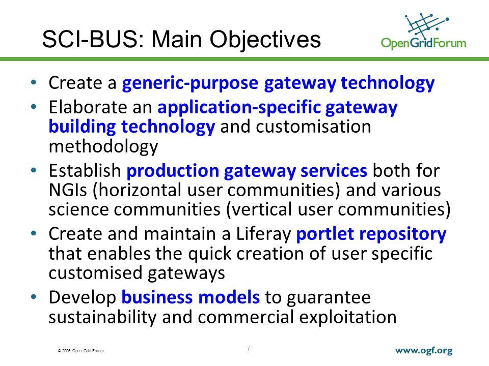 © 2006 Open Grid Forum SCI-BUS: Main Objectives Create a generic-purpose gateway technology Elaborate an application-specific gateway building technol