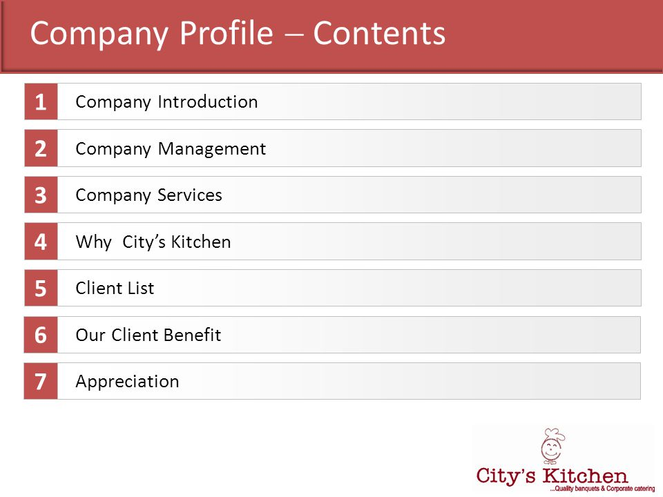 Company Profile Contents Company Services Company Management Why Citys Kitchen Client List 1 2 3 4 5 Company Introduction Our Client Benefit 6 Appreci
