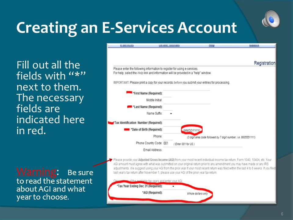 5 Creating an E-Services Account Choose the Registration link on the left hand side of the page.