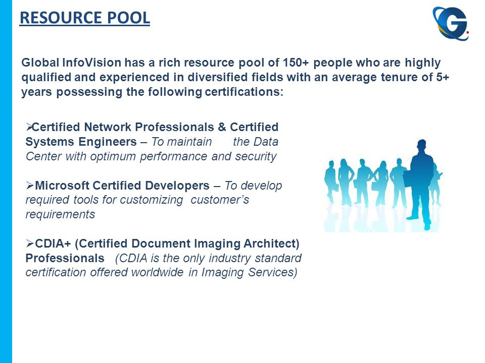 RESOURCE POOL Global InfoVision has a rich resource pool of 150+ people who are highly qualified and experienced in diversified fields with an average