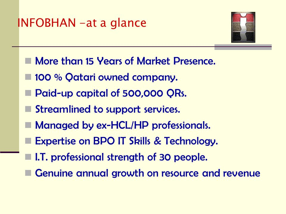 INFOBHAN -at a glance More than 15 Years of Market Presence.