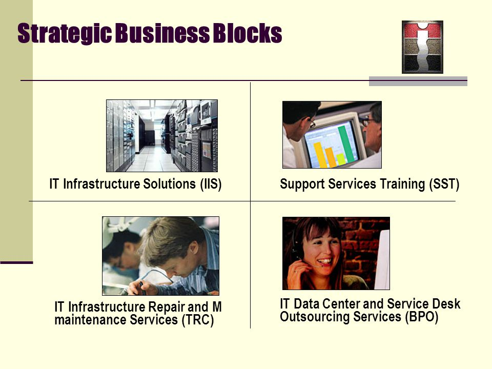 Strategic Business Blocks IT Infrastructure Solutions (IIS) Support Services Training (SST) IT Infrastructure Repair and M maintenance Services (TRC) IT Data Center and Service Desk Outsourcing Services (BPO)