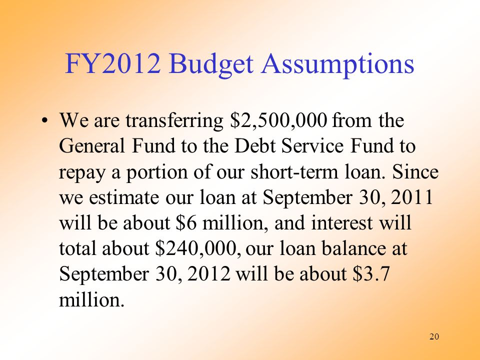 20 FY2012 Budget Assumptions We are transferring $2,500,000 from the General Fund to the Debt Service Fund to repay a portion of our short-term loan.