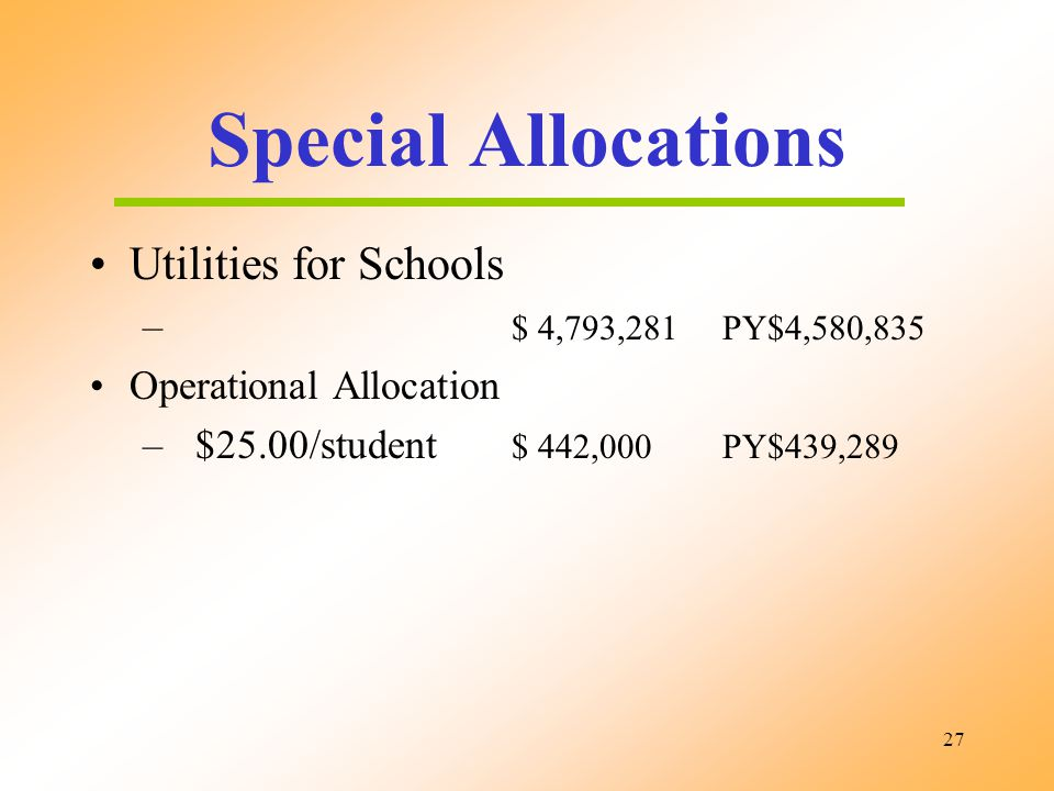 27 Special Allocations Utilities for Schools – $ 4,793,281PY$4,580,835 Operational Allocation – $25.00/student $ 442,000PY$439,289
