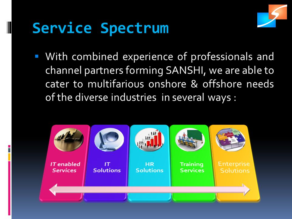 Service Spectrum With combined experience of professionals and channel partners forming SANSHI, we are able to cater to multifarious onshore & offshore needs of the diverse industries in several ways :