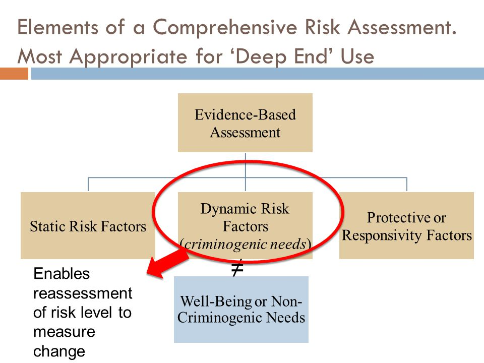 Elements of a Comprehensive Risk Assessment. Most Appropriate for Deep End Use Evidence-Based Assessment Static Risk Factors Dynamic Risk Factors (cri