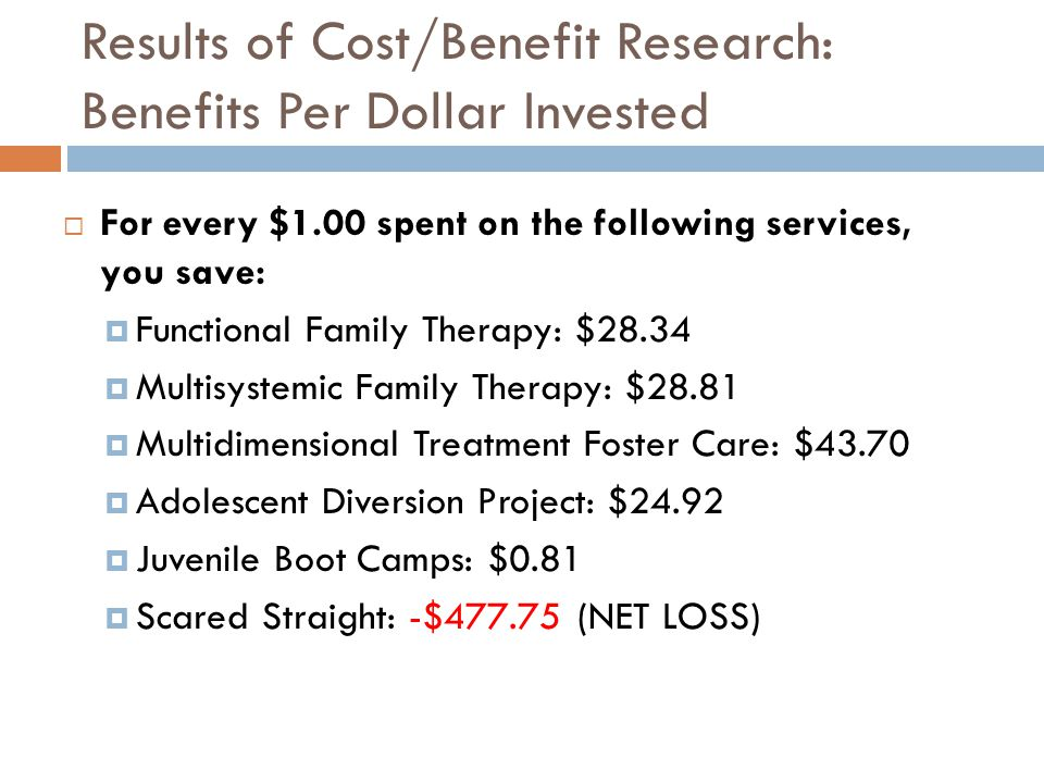 Results of Cost/Benefit Research: Benefits Per Dollar Invested For every $1.00 spent on the following services, you save: Functional Family Therapy: $