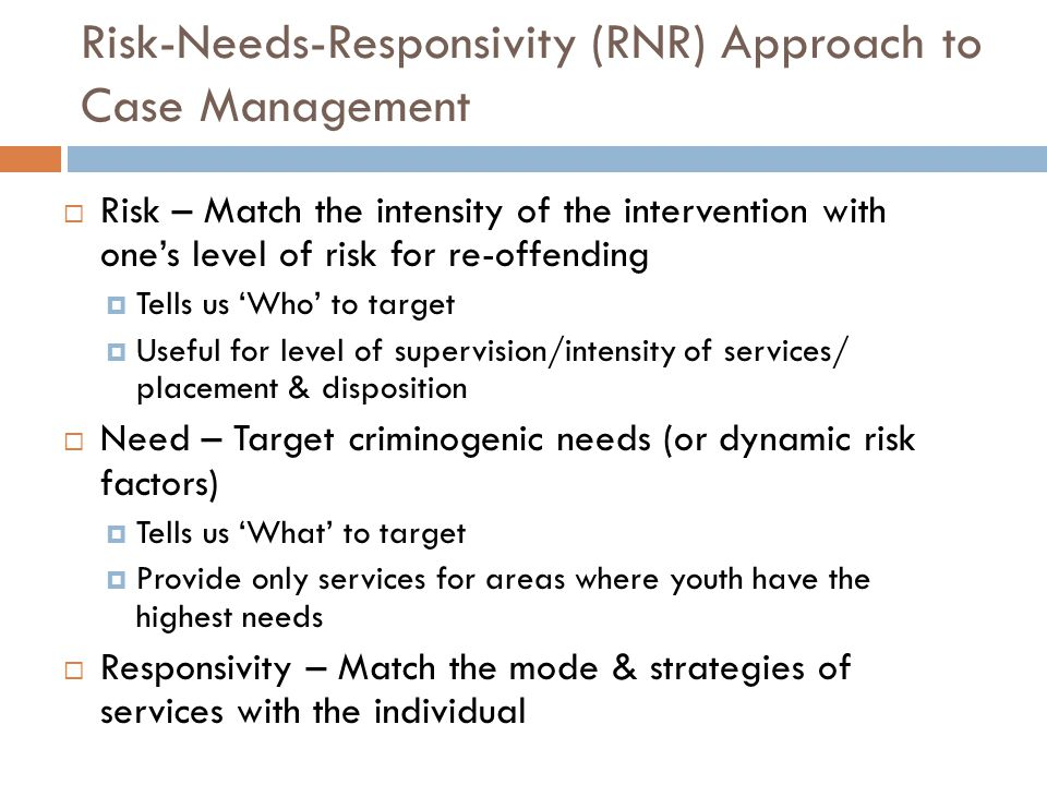Service Matrix Example (partial) Substance Abuse Family Circumstances/ Parenting Education/ Employment Low risk Fill in services Moderate Fill in services High risk Fill in services YLS Risk/Need Area