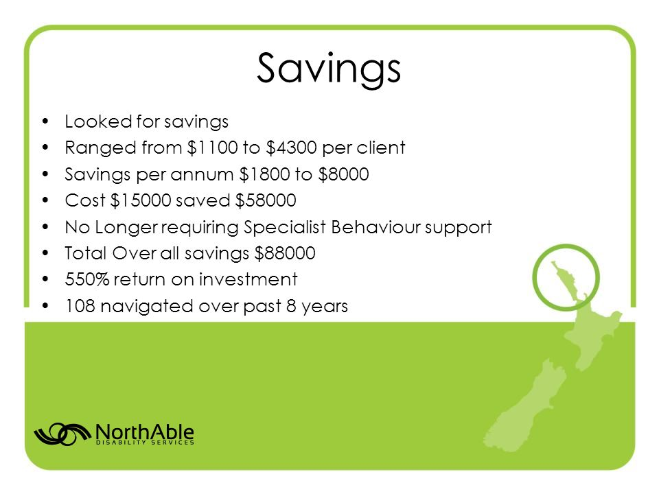 Savings Looked for savings Ranged from $1100 to $4300 per client Savings per annum $1800 to $8000 Cost $15000 saved $58000 No Longer requiring Specialist Behaviour support Total Over all savings $88000 550% return on investment 108 navigated over past 8 years