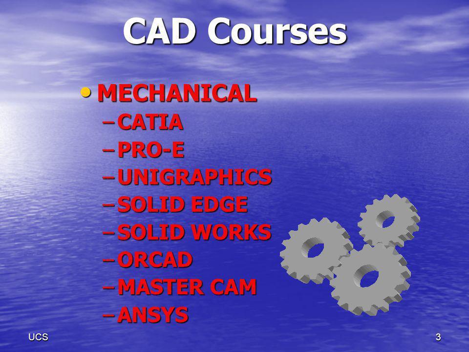 UCS2 CAD Courses ARCHITECTURAL ARCHITECTURAL –AutoCAD –3DS Max –Photoshop –Corel Draw –REVIT –ARCHICAD