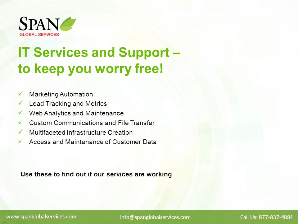 IT Services and Support – to keep you worry free.