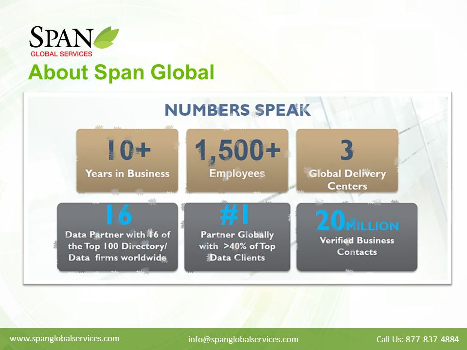 About Span Global www.spanglobalservices.com info@spanglobalservices.comCall Us: 877-837-4884