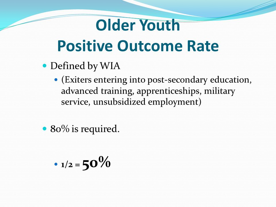 Older Youth Positive Outcome Rate Defined by WIA (Exiters entering into post-secondary education, advanced training, apprenticeships, military service, unsubsidized employment) 80% is required.