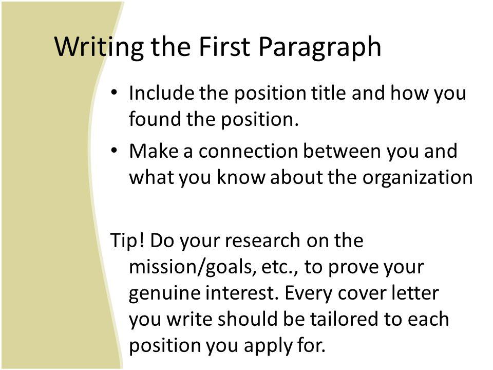 Sample Position Description Information for first paragraph: Ada S.