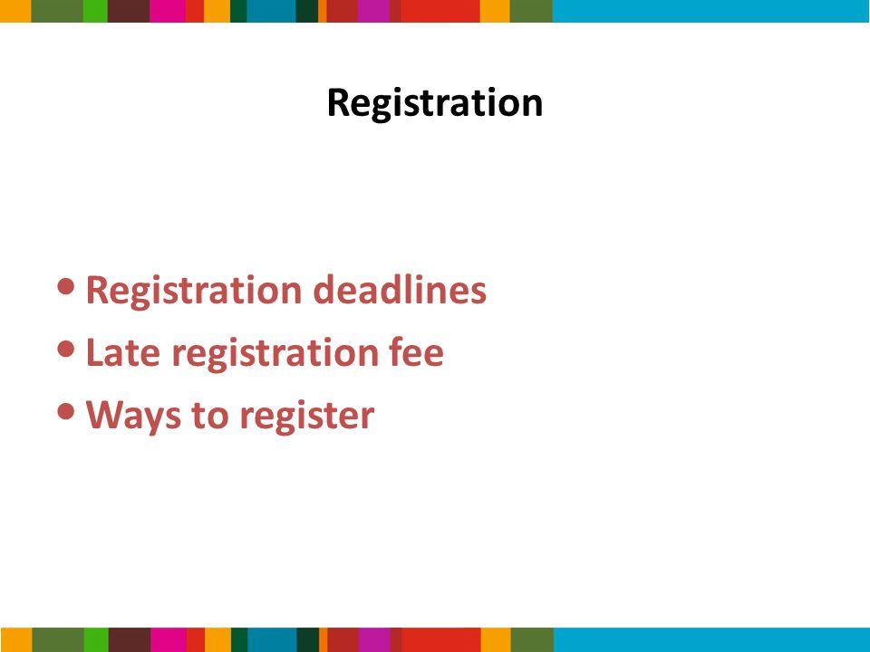 Registration Registration deadlines Late registration fee Ways to register