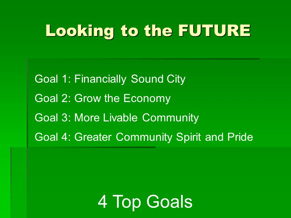 Goal 1: Financially Sound City 1.Responsible, low tax rate 2.City Services delivered in a cost effective, efficient manner 3.Responsible debt level consistent with City policies and emphasis on benefits to the community 4.Community satisfaction with quality of services and level of customer services 5.Adequate resources to support defined City services and service levels OBJECTIVEOBJECTIVES